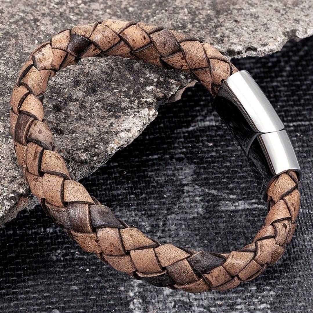 Браслет кожаный мужской плетеный коричневый винтаж Твой Браслет LTH528