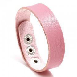 Браслет кожаный женский на кнопках розовый Твой Браслет LTH529