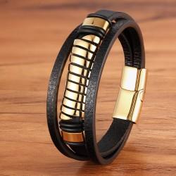 Браслет кожаный мужской черный с магнитным замком Gold Твой Браслет LTH530