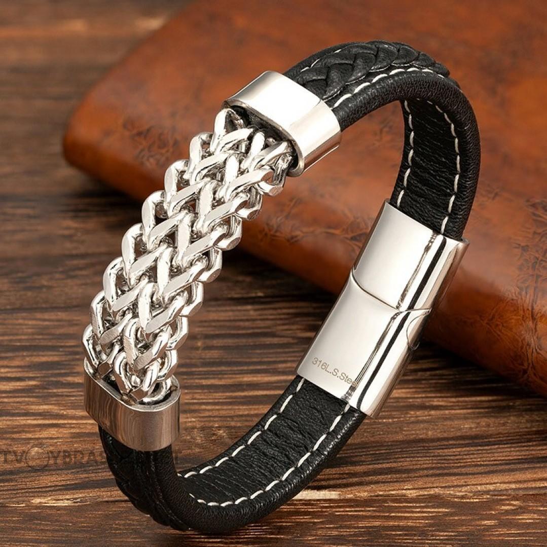 Браслет кожаный мужской со стальной цепью черный белая строчка Black Silver Твой Браслет LTH531