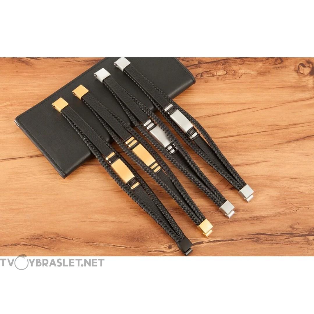 Браслет кожаный многослойный магнитный замок Silver Black Твой Браслет LTH532