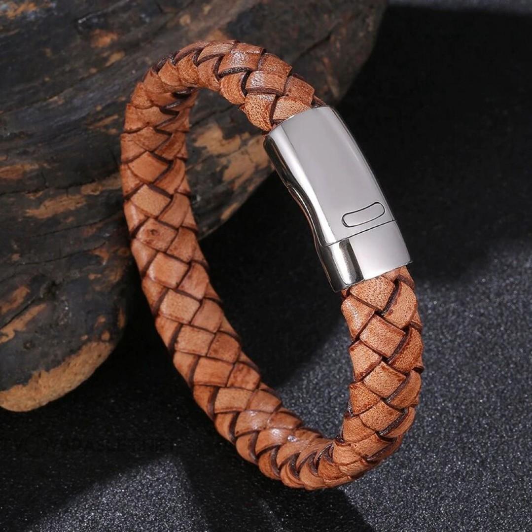 Браслет кожаный мужской плетеный коричневый винтаж Твой Браслет LTH533