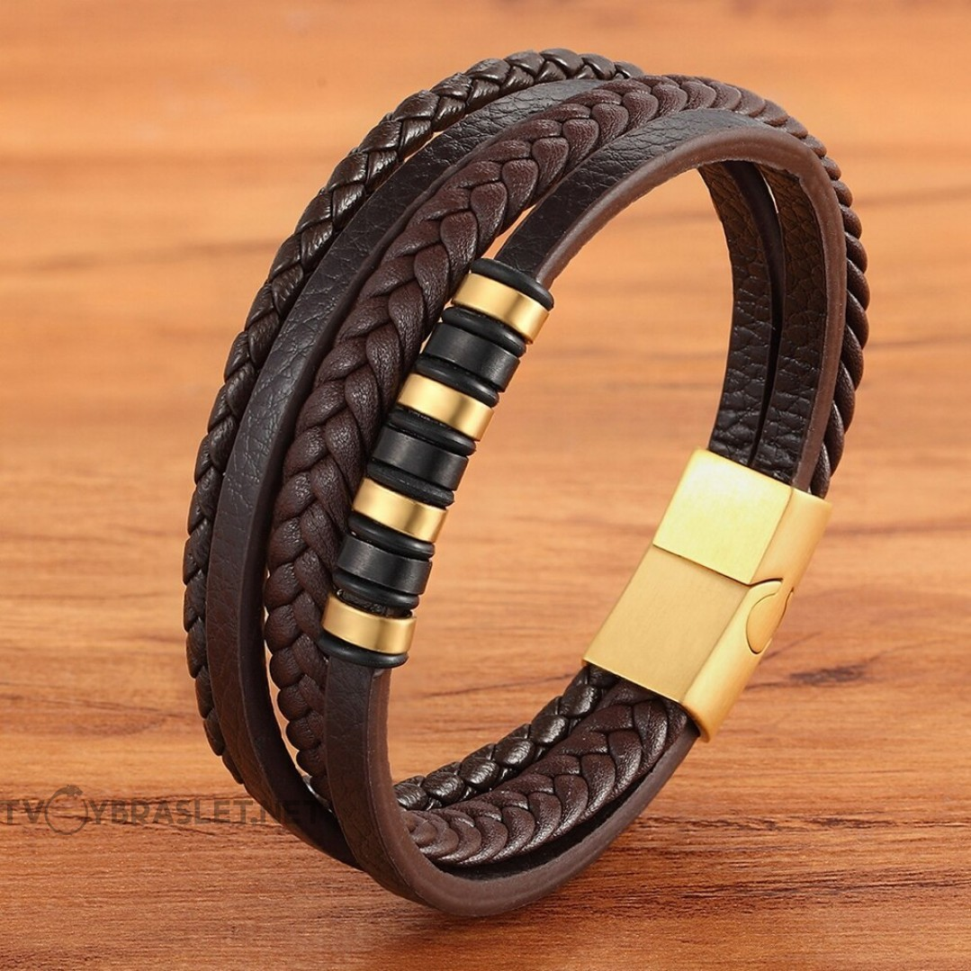 Браслет кожаный мужской многослойный коричневый Gold Твой Браслет LTH534