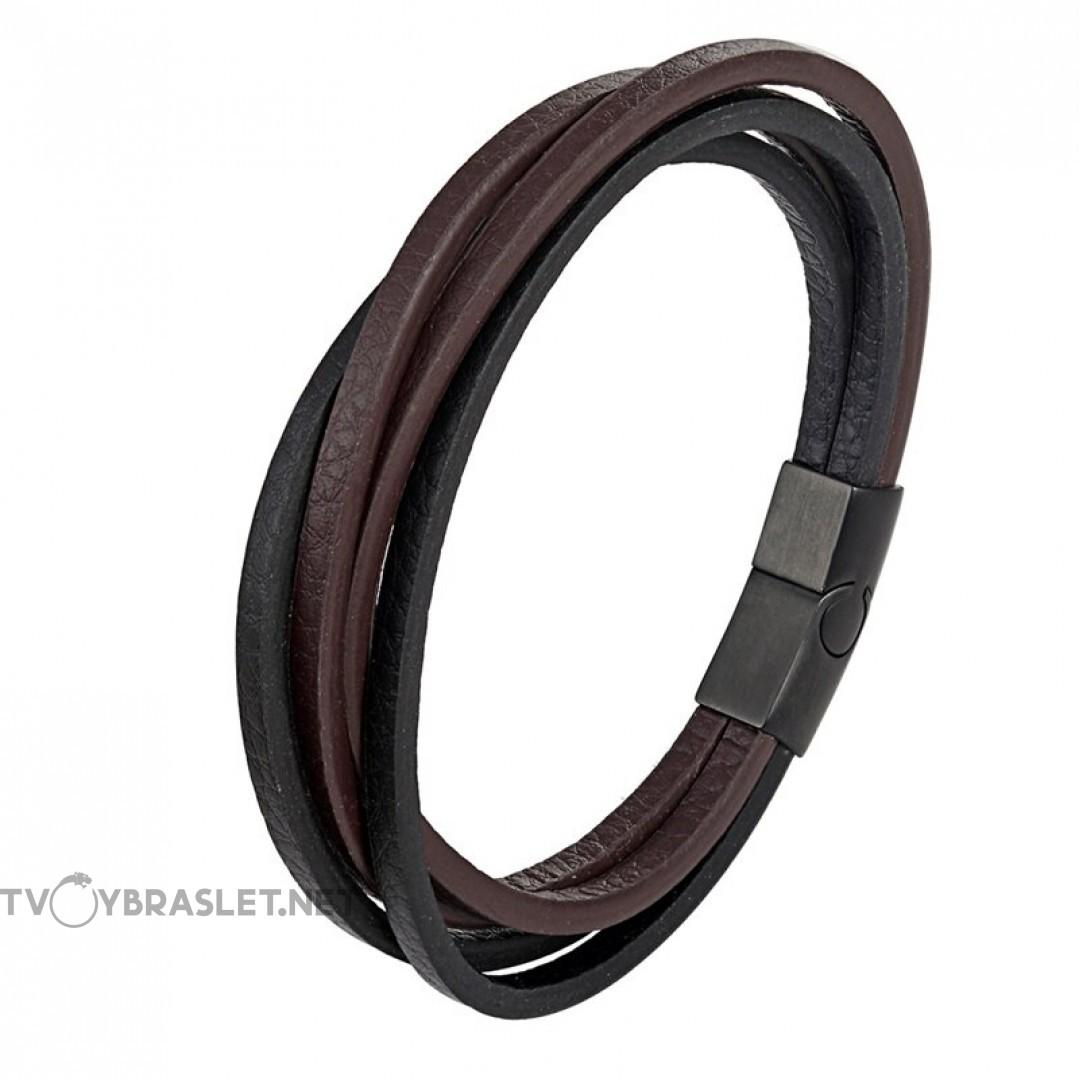 Браслет кожаный мужской многослойный черный с коричневым Твой Браслет LTH535