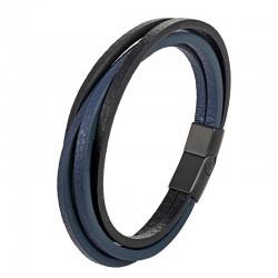 Браслет кожаный мужской многослойный черный с синим Твой Браслет LTH536