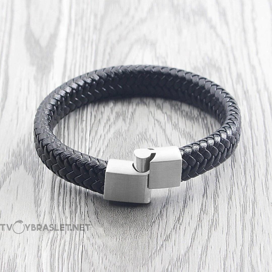 Браслет кожаный мужской черный с магнитным замком Silver Твой Браслет LTH537