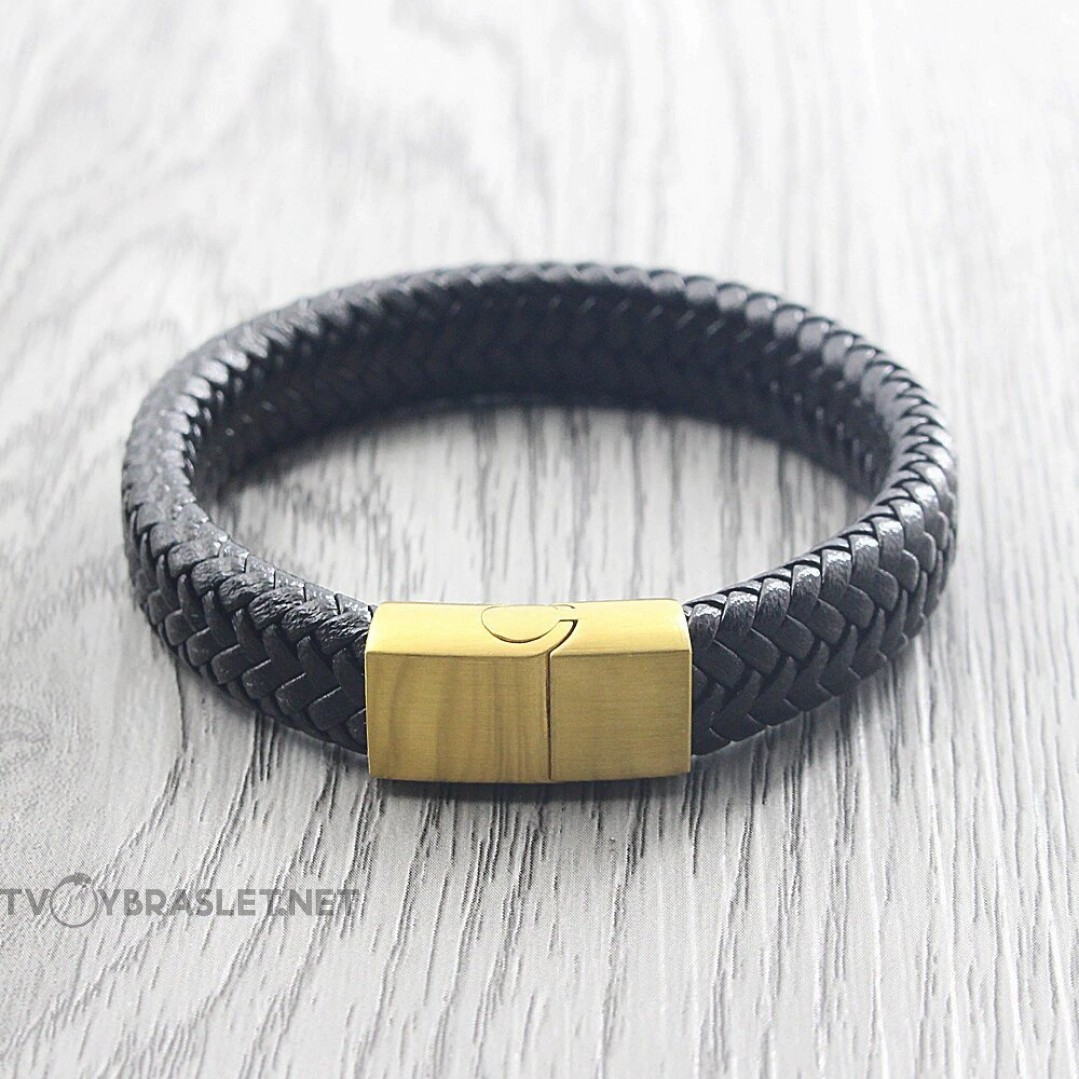 Браслет кожаный мужской черный с магнитным замком Gold Твой Браслет LTH538