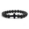 Браслет из лавового камня черный с крестом Твой Браслет NK002
