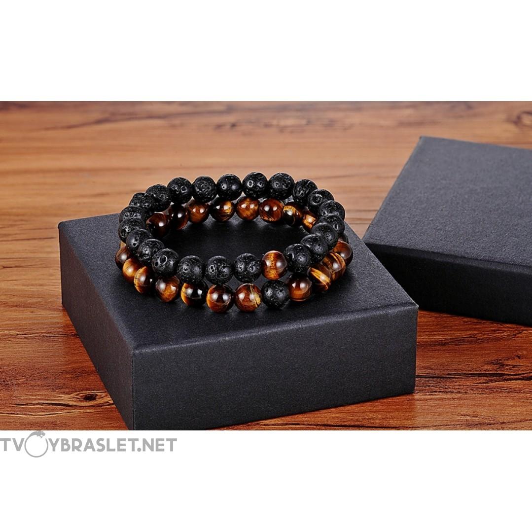 Комплект браслетов Лава Тигровый Глаз 2 шт Твой Браслет NK042