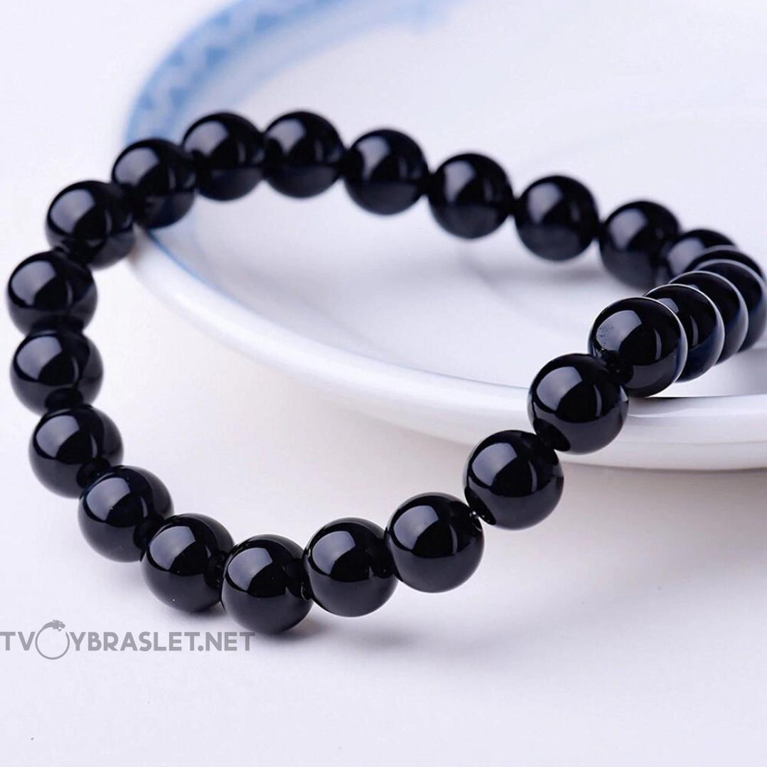 Браслет из натурального камня Оникс черный Твой Браслет NK045