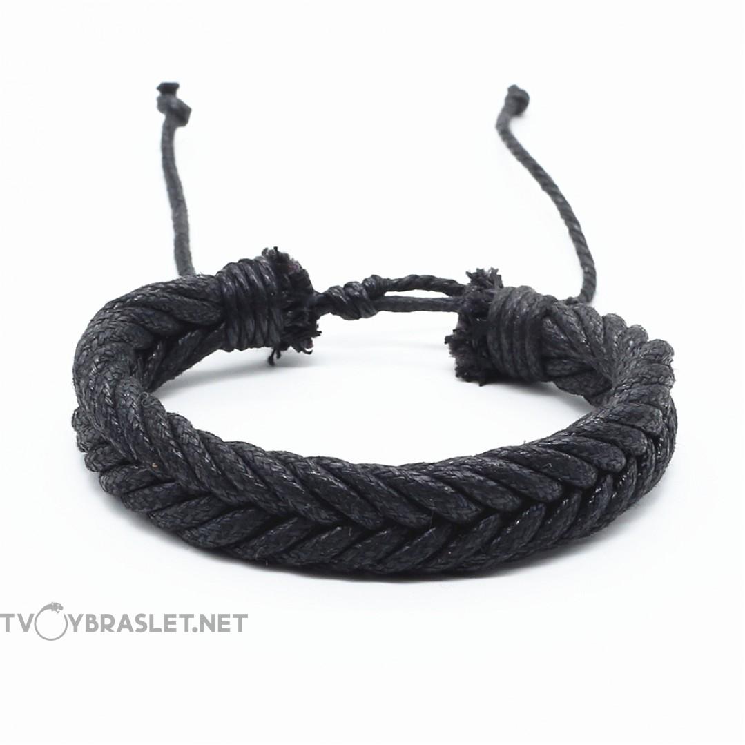 Браслет веревочного плетения черный Твой Браслет RND105