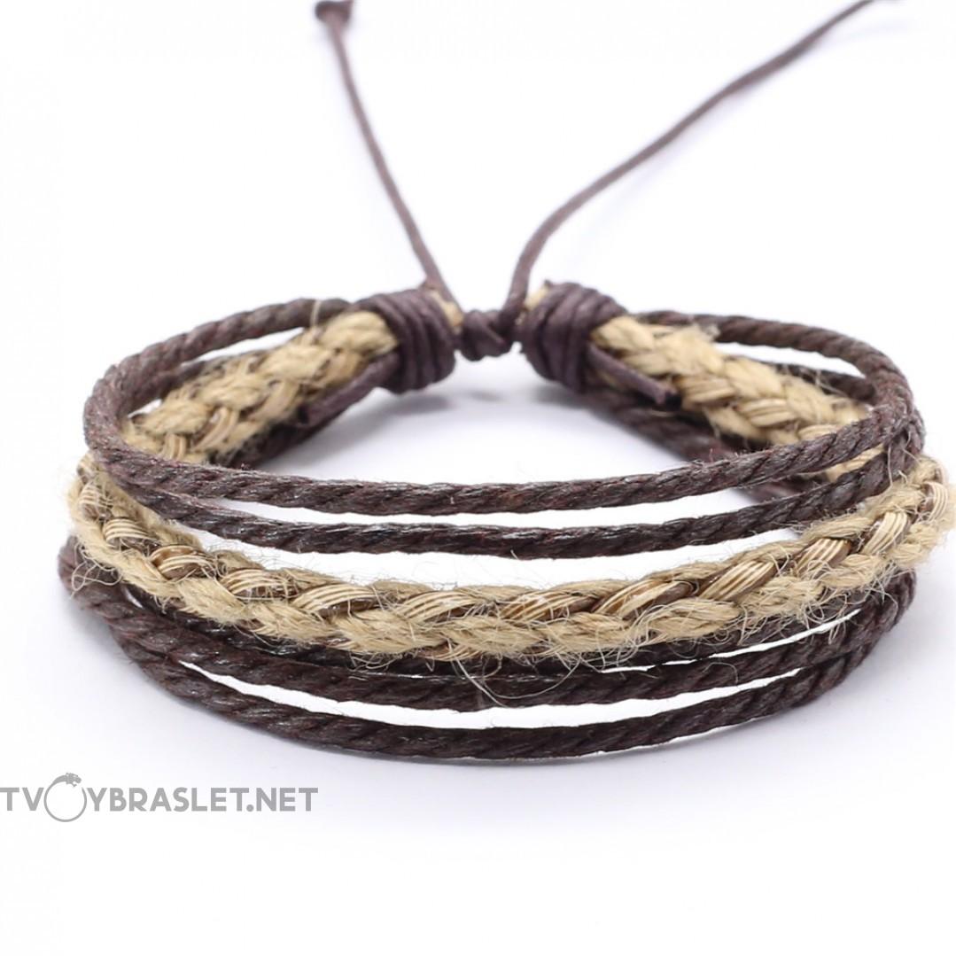 Браслет плетеный веревочный многослойный коричневый Твой Браслет RND111