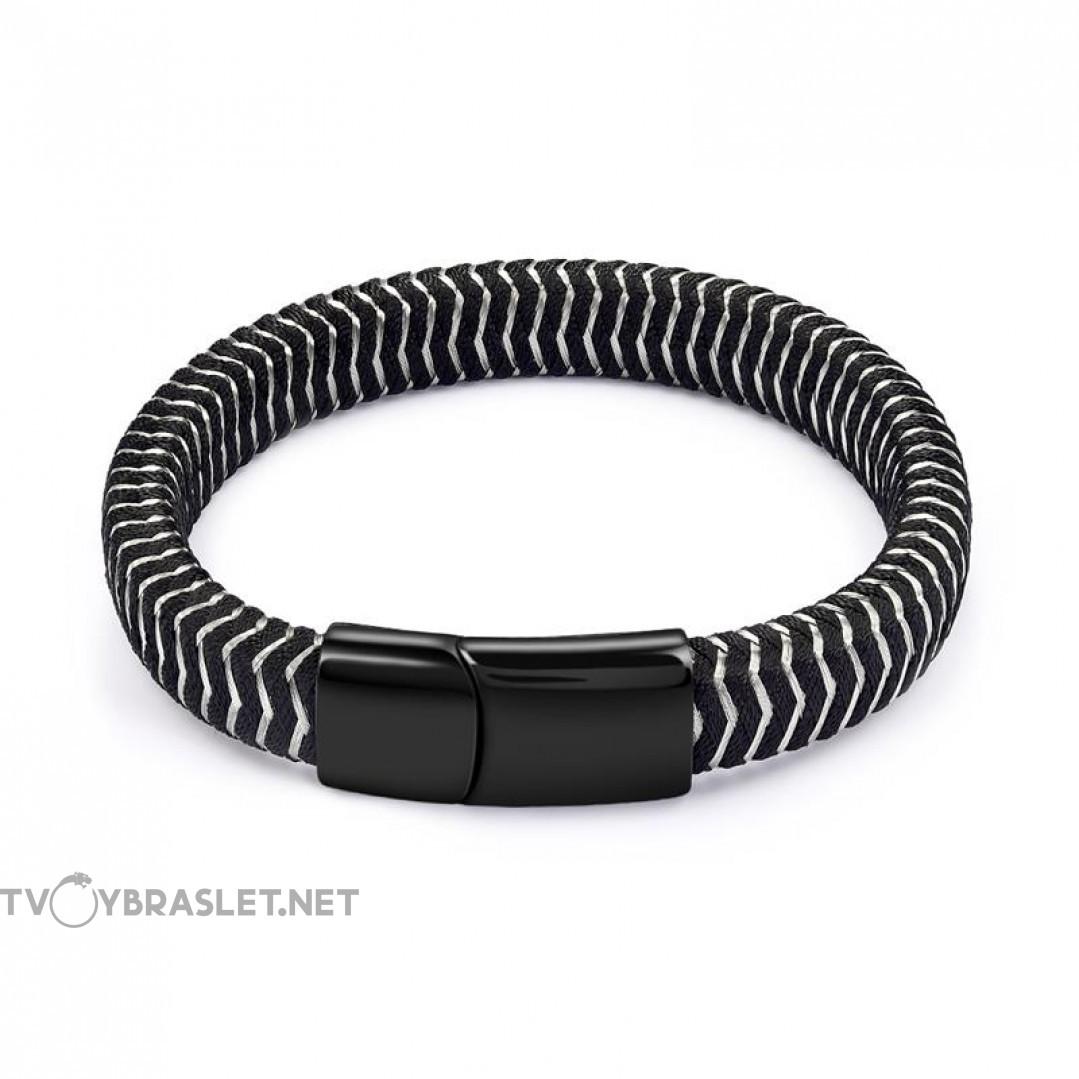 Браслет плетеный с магнитным замком черный с серым Твой Браслет RND113