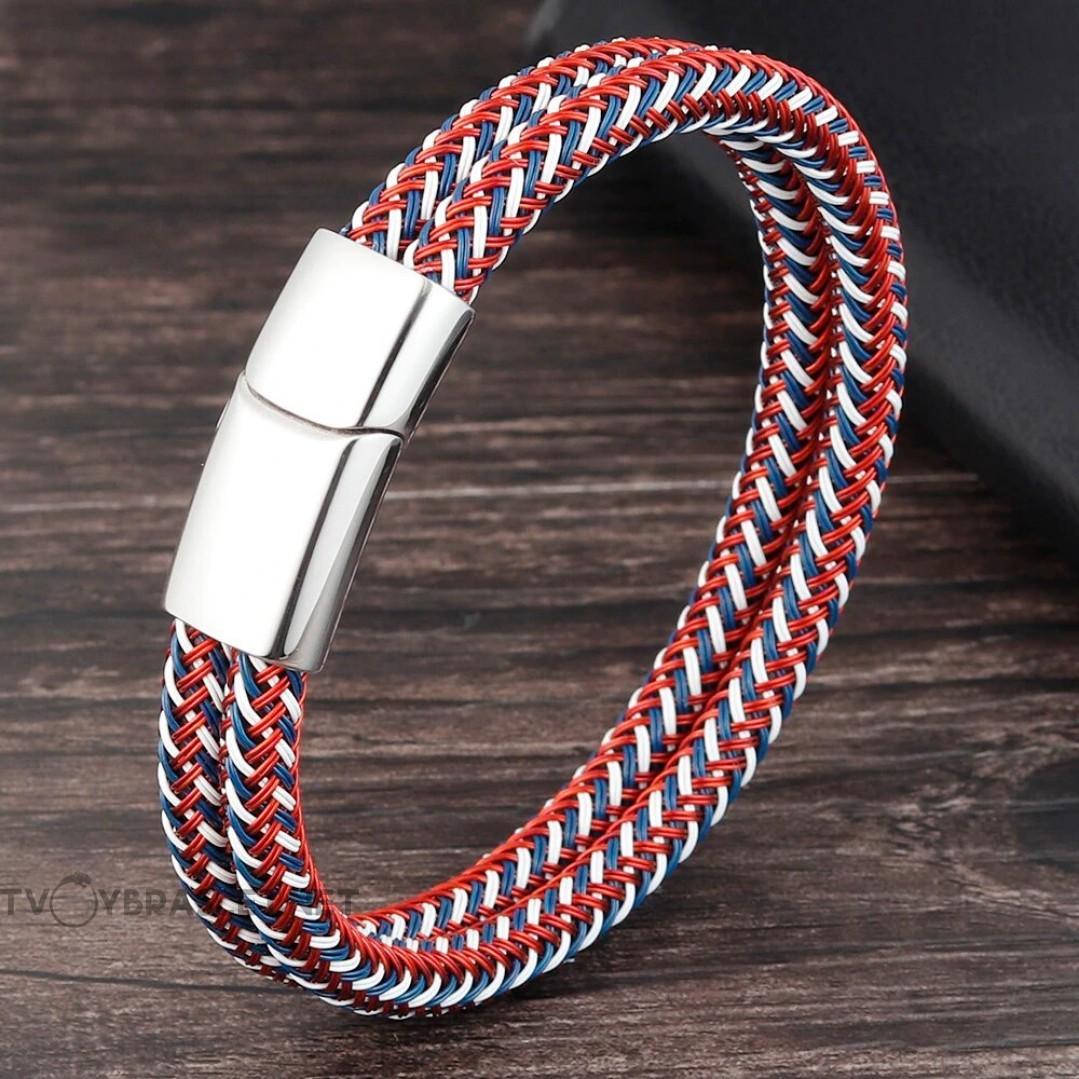 Браслет мужской плетеный бело-сине-красный Твой Браслет RND114