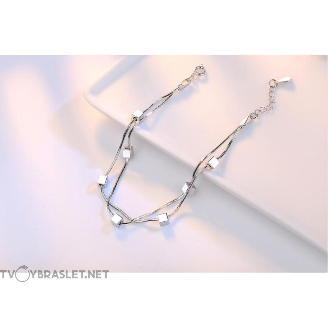Браслет серебряный женский змейка Кубики SLV107