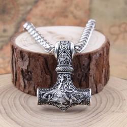 Скандинавский оберег Молот Тора Мьёльнир на стальной цепи Silver SOB016