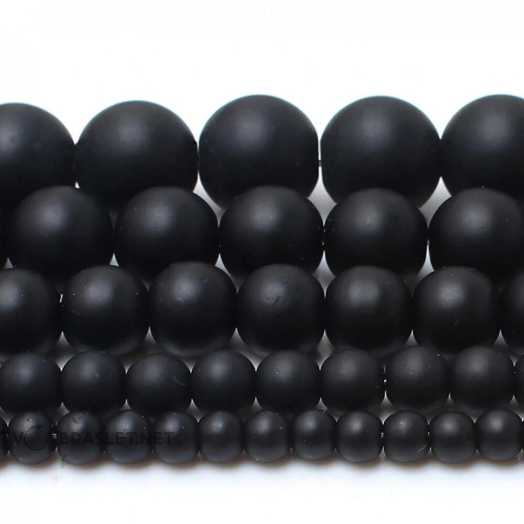 Агат черный натуральный камень Твой Браслет 8 мм ST107