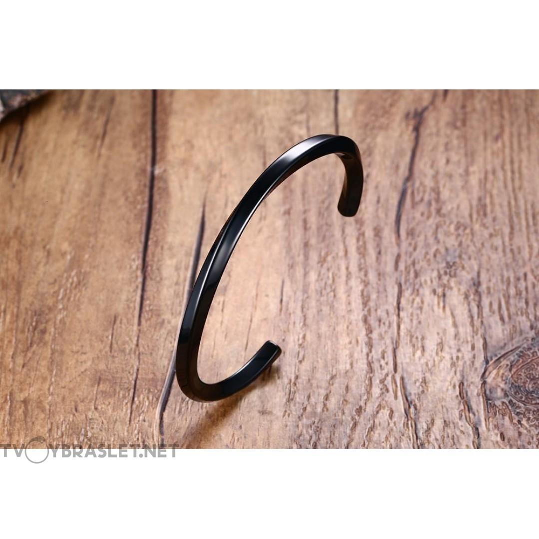 Браслет кольцо из стали черный Твой Браслет Black STL009