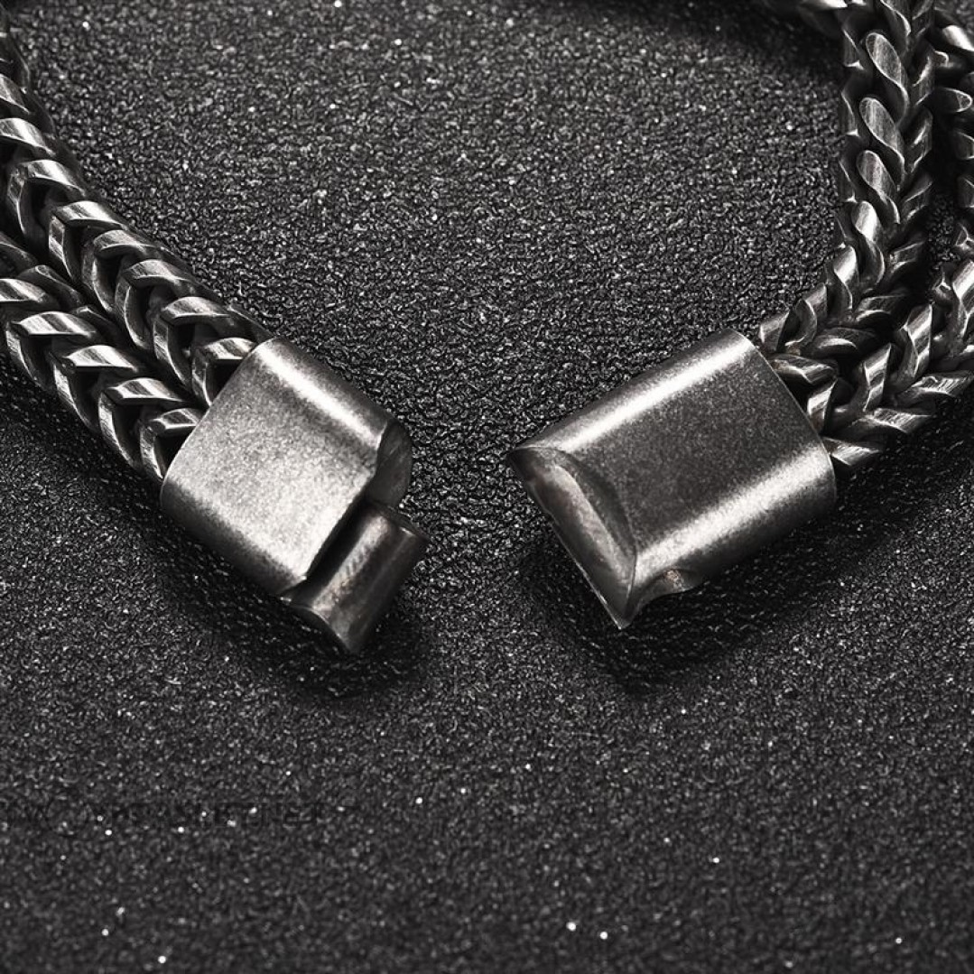 Браслет мужской стальной два слоя магнитный замок Твой Браслет STL013