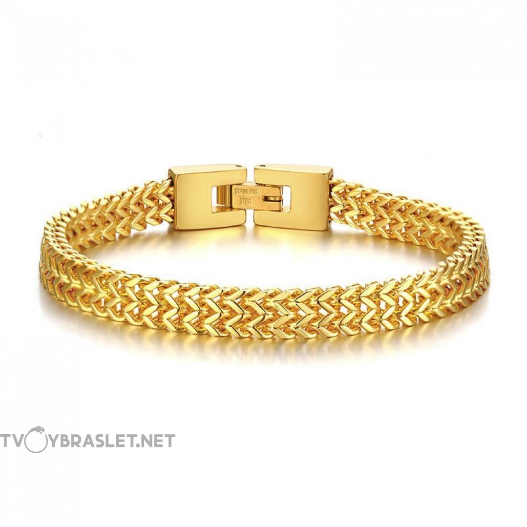 Браслет мужской из стали 6,5 мм Gold Твой Браслет STL022