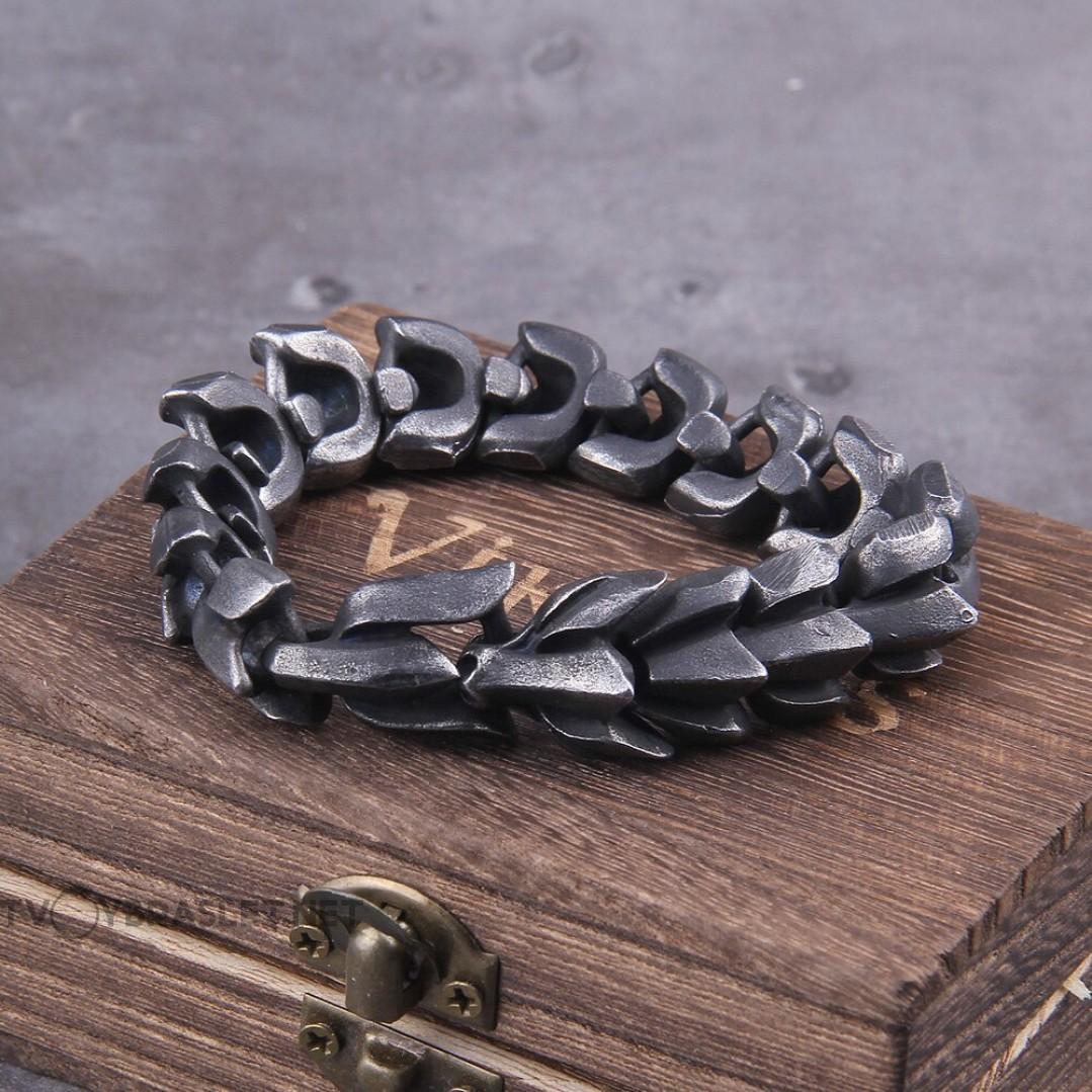 Браслет стальной Чешуя Дракона Vikings Silver Vintage Твой Браслет STL030