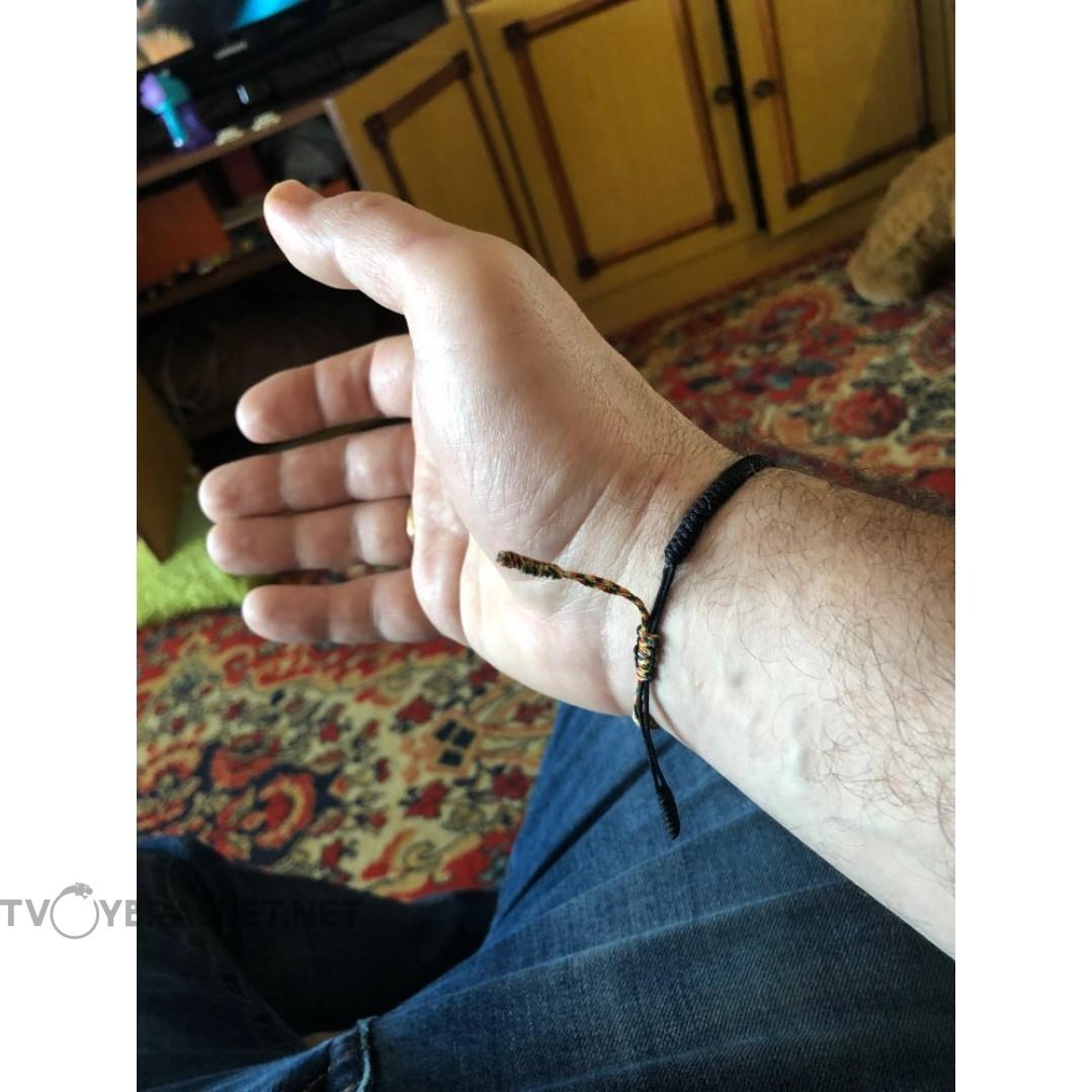 Тибетский браслет черный с цветным плетением Твой Браслет TBT01